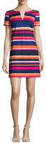 Trina Turk Short-Sleeve Striped Cotton-Stretch Dress