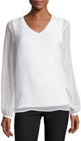 Neiman Marcus Gathered Long-Sleeve V-Neck Top, White