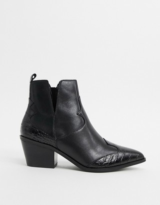 Aldo Mersey leather mix western ankle boot in black