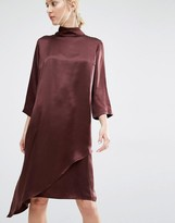 Gestuz Blaze High Neck Silk Dress with Slip