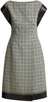 Prada Houndstooth Check Wool-blend Tweed Dress - Womens - Green Multi