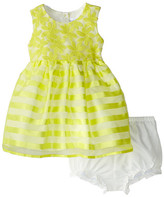 Us Angels Cap Sleeve Embroidery Organza/Stripe (Toddler)