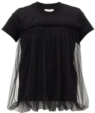 Noir Kei Ninomiya Gathered-tulle Cotton T-shirt - Womens - Black
