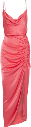 Veronica Beard Ruched Satin-crepe Gown