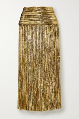 Saint Laurent Pleated Lurex Midi Skirt - Gold