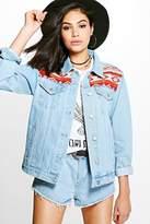 boohoo Lilly Embellished Oversized Denim Festival Jacket