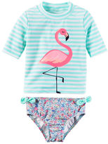 Carter's Striped Flamingo Rashguard Set