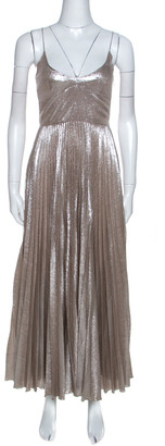 Rochas Silver Woven Silk Blend Sleeveless Pleated Dress M
