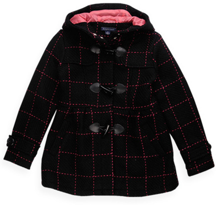 Pumpkin Patch Hooded Check Long Toggle Coat
