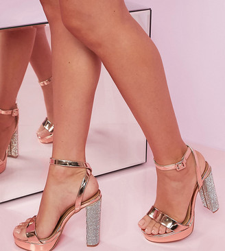 ASOS DESIGN Luxe Wide Fit Nutshell embellished platform barely there heeled sandals in rose gold