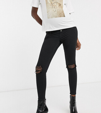 Topshop Maternity Jamie overbump skinny jeans with rips in black