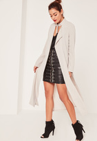 Missguided Caroline Receveur Grey Long Sleeve D Ring Detail Maxi Duster Coat