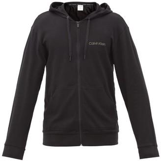 Calvin Klein Underwear Logo-print Cotton-blend Jersey Hooded Sweatshirt - Black