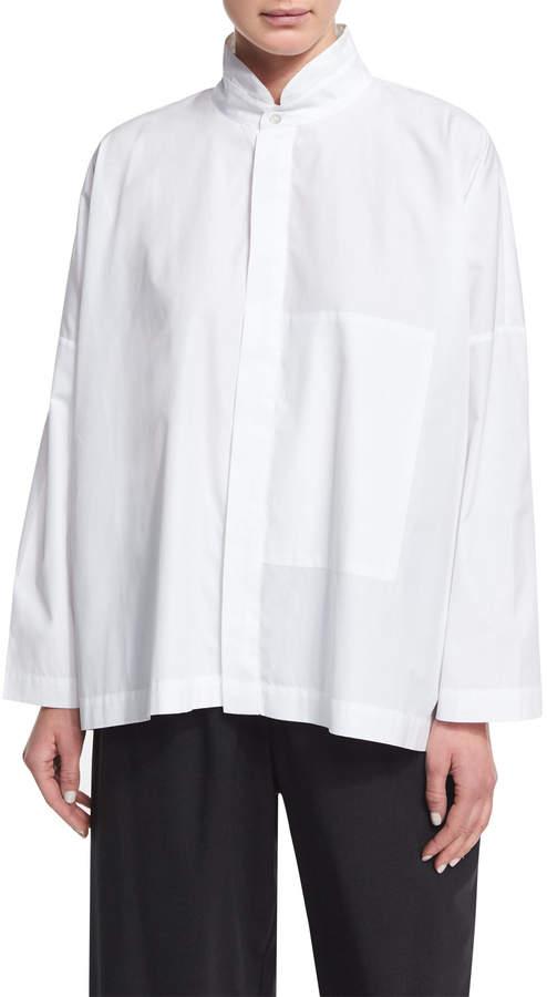 eskandar Double Stand-Collar Cotton Shirt