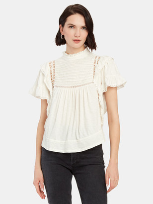 Free People Le Femme Ruffle Mock Neck Top