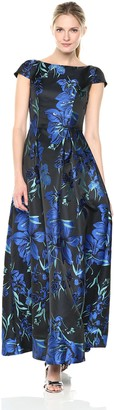 JS Collections Women's Cap Sleeve Floral Taffeta Gown