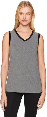 Blanc Noir Women's V-Neck Tank Top with Mesh Panel