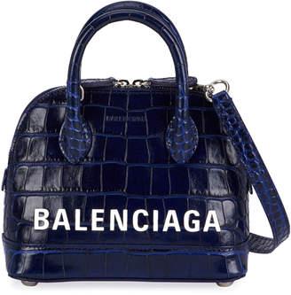 Balenciaga Ville XXS AJ Crocodile-Embossed Top-Handle Bag