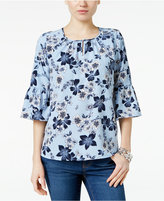 Charter Club Floral-Print Ruffle-Sleeve Top, Only at Macy's