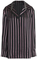 Alexander Wang Crystal-embellished Striped Satin-trimmed Chambray Shirt