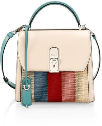 Salvatore Ferragamo Medium Boxyz Knit Leather Top Handle Bag