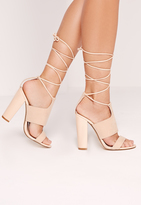 Missguided Tie Ankle Strap Block Heels Nude