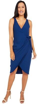Adrianna Papell Divine Crepe Draped Wrap Dress (Navy) Women's Dress