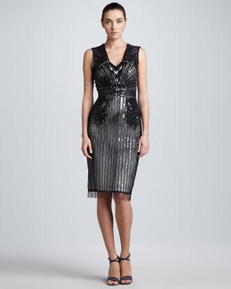 Carolina Herrera Sequined Tulle Cocktail Dress, Black