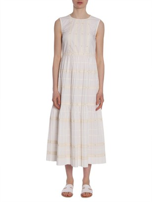 RED Valentino Pleated Striped Midi Dress