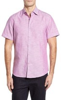 Stone Rose Men's Trim Fit Linen Blend Sport Shirt