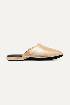 Charvet Metallic Textured-leather Slippers - Gold