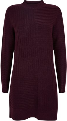 Wallis Berry Ribbed Knitted Dress