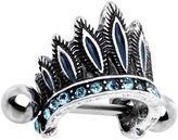 Body Candy Steel Brilliant Accent Tribal Headdress Helix Cuff Cartilage Earring 16 Gauge 1/4""