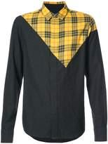 Mostly Heard Rarely Seen asymmetric check patch shirt
