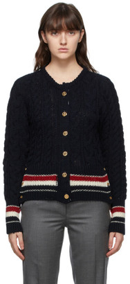 Thom Browne Online Exclusive Navy Mohair Aran Cable RWB Stripe Cardigan