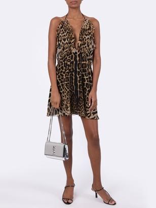 Saint Laurent Silk Leopard Print Mini Dress
