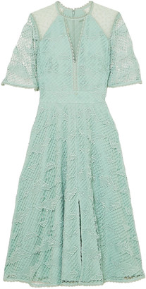 Temperley London Haze Embroidered Tulle-paneled Guipure Lace Midi Dress