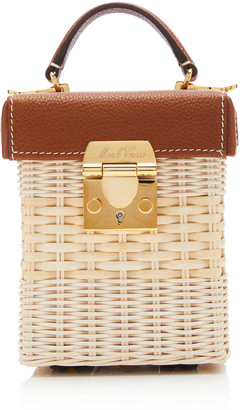 Mark Cross Grace Mini Leather-Trimmed Rattan Bag