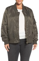 Steve Madden Plus Size Women's Flight Side Zip Bomber Jacket