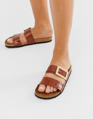 Asos Design DESIGN Fool For You sliders in tan croc