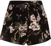 River Island Womens Black floral print shorts