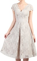 Jolie Moi Cap Sleeve Lace Prom Dress