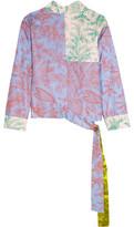 Jonathan Saunders Helen Printed Silk-Twill Wrap Top