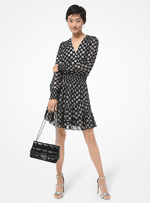 MICHAEL Michael Kors MK Metallic Dot Georgette Ruffled Wrap Dress - Black/silver - Michael Kors
