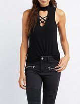 Charlotte Russe Caged Mock Neck Tank Top