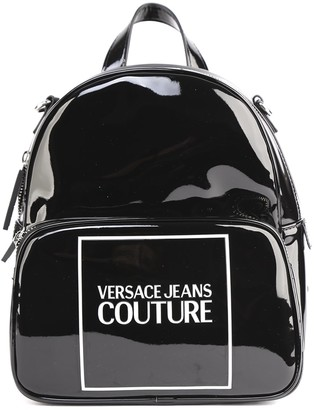 Versace Black Faux Leather Backpack