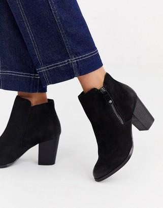 Aldo side zip round toe mid heel boot in black