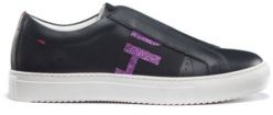 HUGO Low-top Italian leather trainers with glitter-logo band