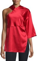 CNC Costume National Asymmetric Woven Top, Red