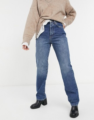 Topshop carpenter jeans in mid wash blue